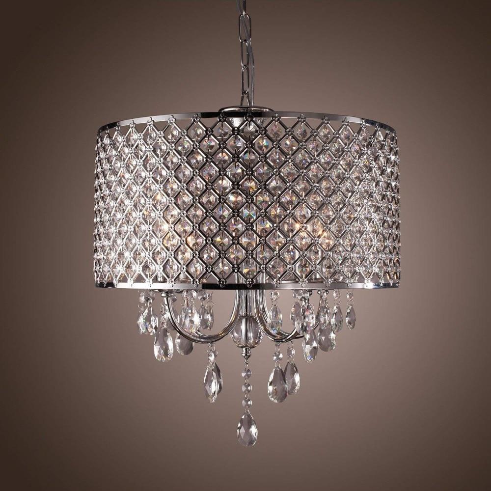 Moderno candelabro de cristal redondo de bronce antiguo de la caja de metal-Red tambor sombra hogar comedor hotel lámpara de techo para salón Accesorios