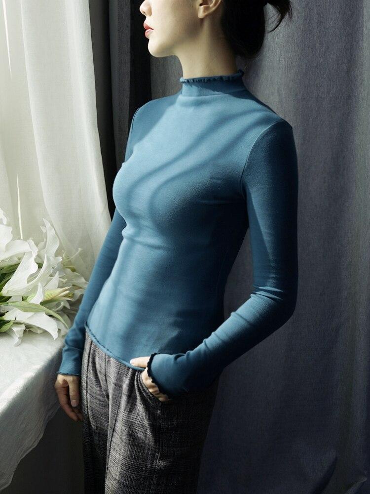 95% algodón mujeres Otoño Invierno Camisetas con volantes cuello alto manga larga...