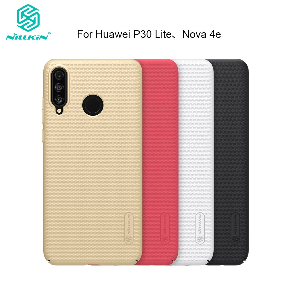Nillkin Para Huawei P30 Lite/4e Caso Duro Fosco PC Case Protetora para P30 Nova Lite Tampa Traseira 6.15 polegada Presente Phone Holder