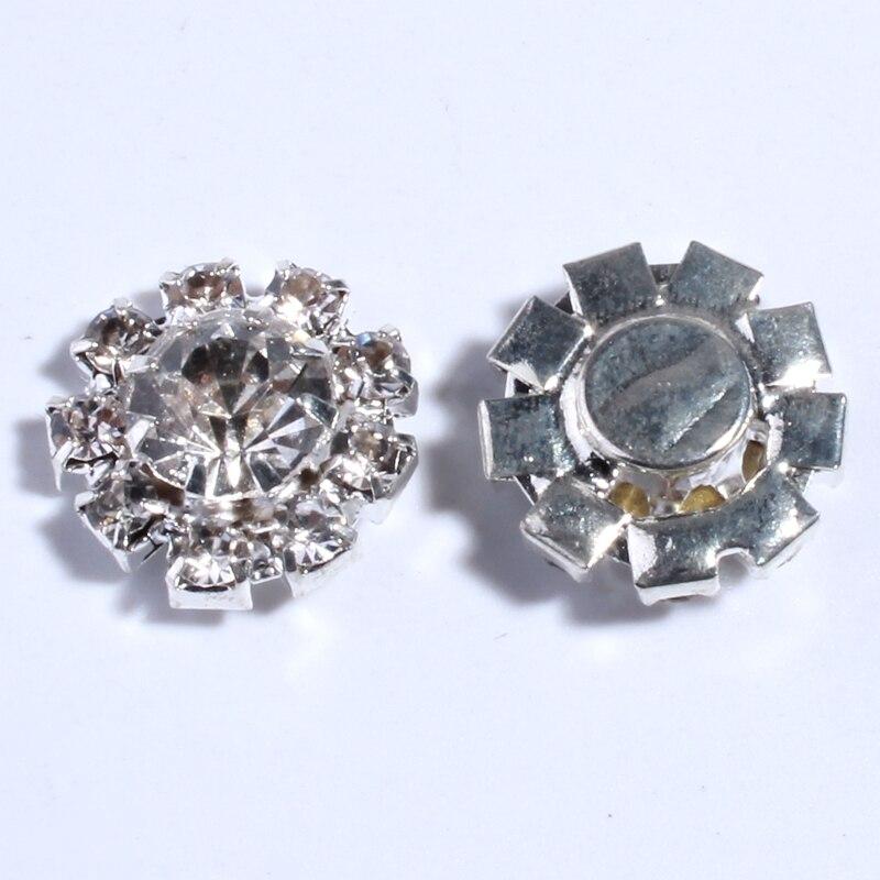 10 PCS 14 MILÍMETROS Mini Botões de Strass Para O Centro de Flores de Cabelo de Prata Do Vintage Botões De Cristal Para Convite De Casamento