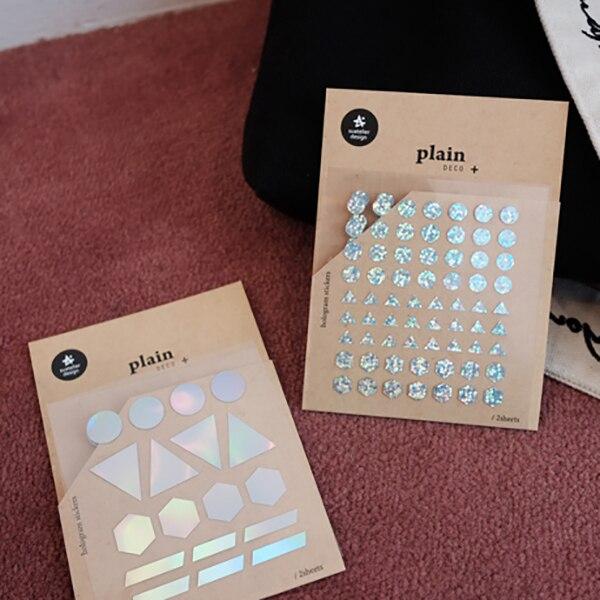 2 unids/set de pegatinas decorativas fluorescentes con láser, gotas de lluvia redondas DIY, álbum de recortes, pegatinas coreanas para planificador de papelería