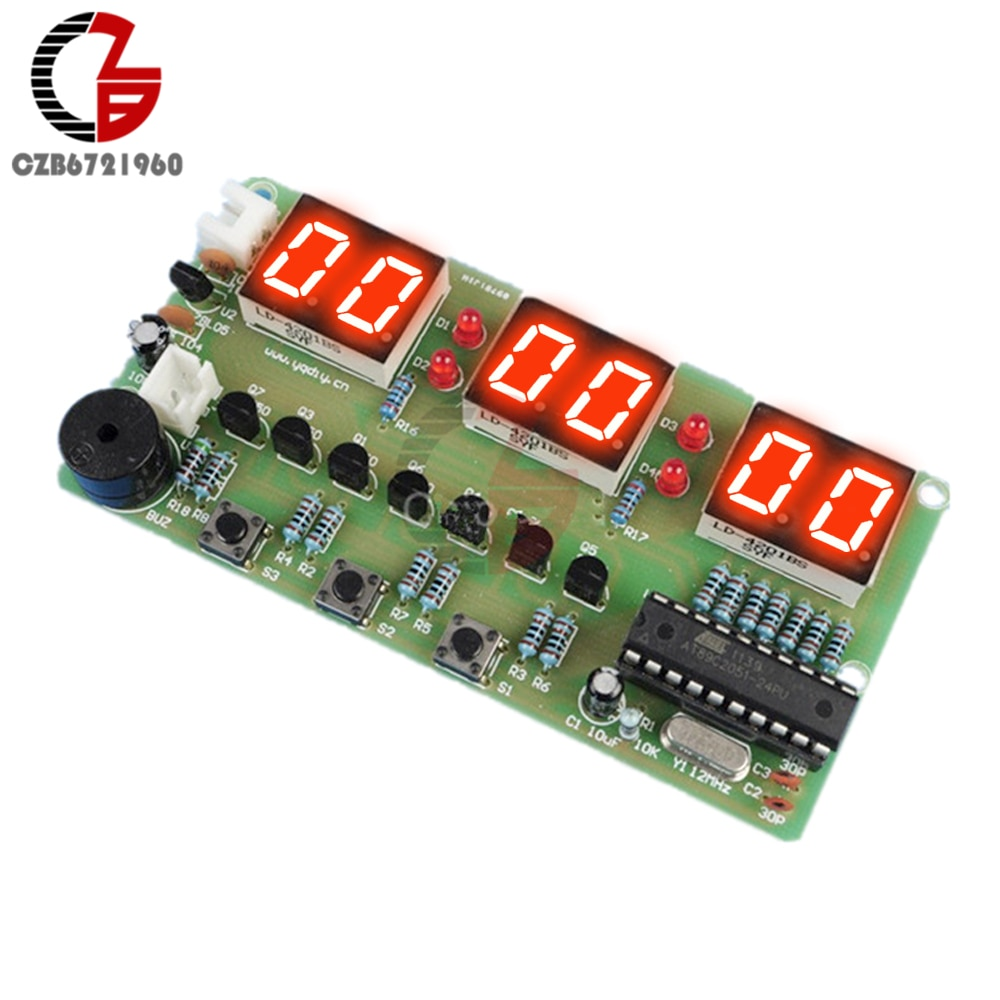 Kit DIY de reloj electrónico 12V C51, módulo temporizador LED Digital con botón para alarma, cuenta atrás, cronómetro