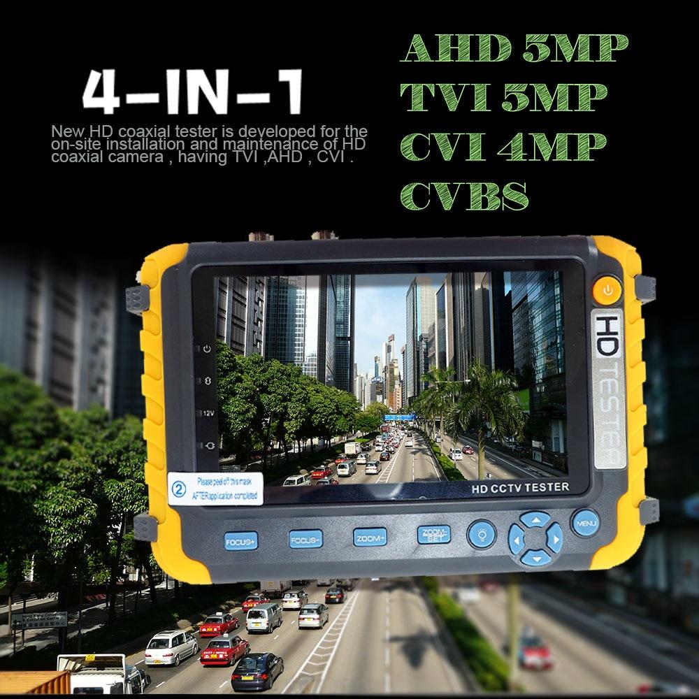 NEW 5 inch TFT LCD HD 5MP TVI AHD CVI CVBS Analog Security Camera Tester Monitor All in One CCTV Tester VGA HDMI Input IV8W enlarge