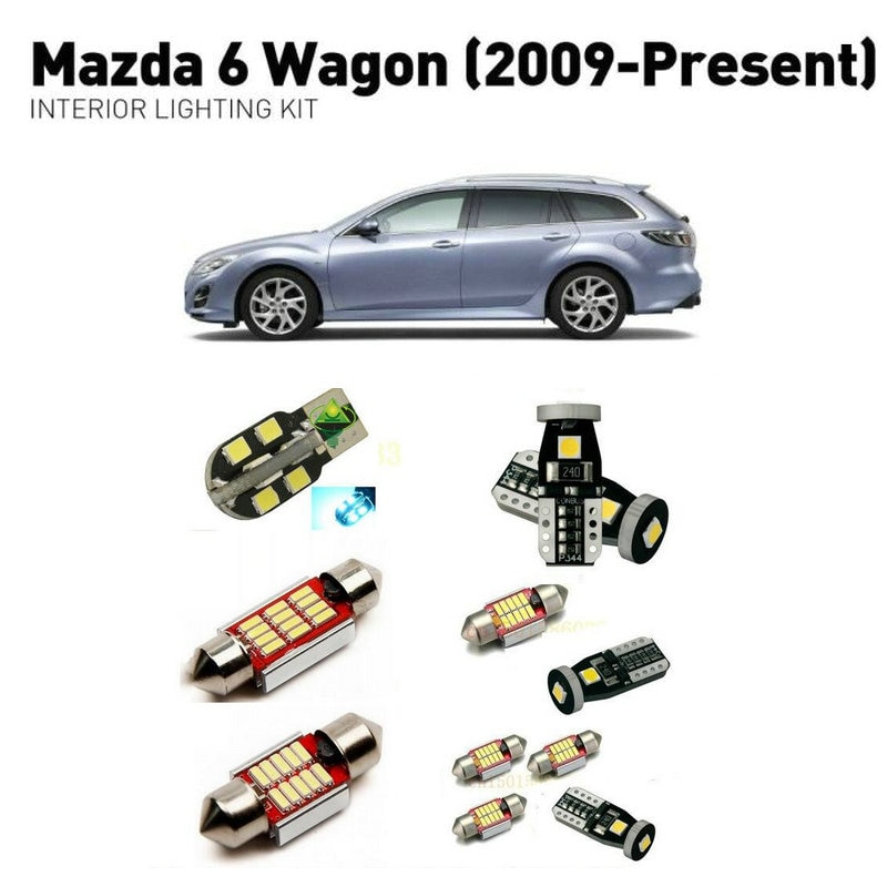 Led interior lights For mazda 6 wagon 2009+  12pc Led Lights For Cars lighting kit automotive bulbs Canbus