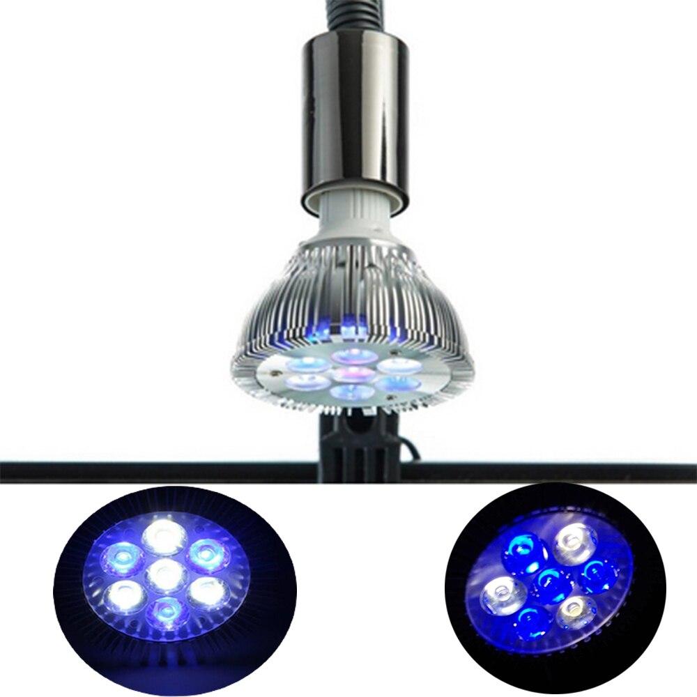 Luz de acuario LED de espectro completo de 21W, luz de acuario LED E27 para arrecife de Coral usado, luces LED para cultivo de plantas para tanques de arrecife de agua salada