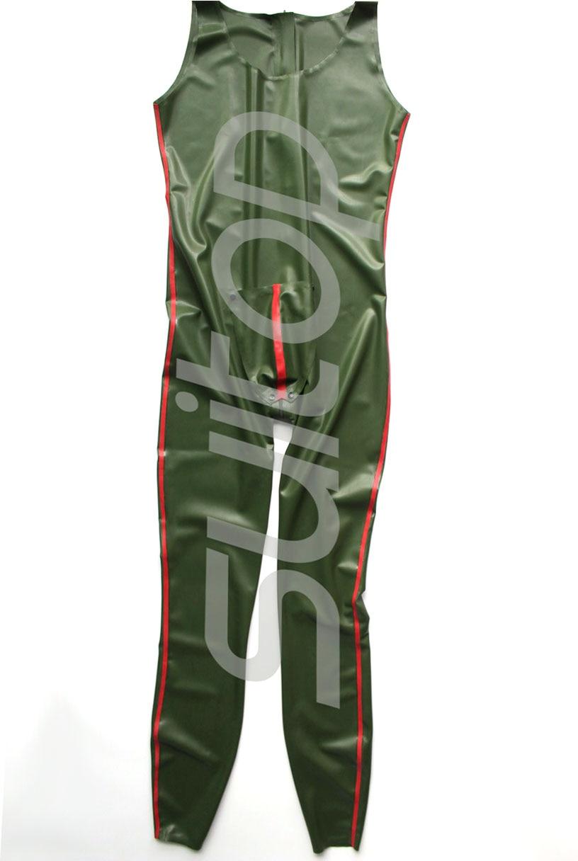 Nouveau catsuit en latex de vente chaude dans le corps en caoutchouc vert et rouge darmée avec la fermeture éclair arrière