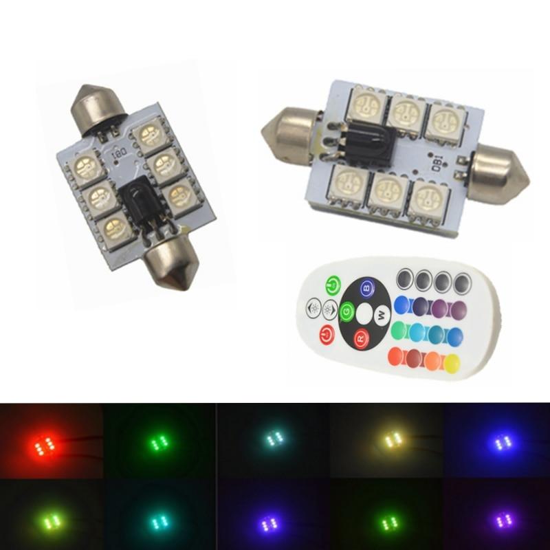 Mapa de lectura lámpara Domo Festoon LED 31/36/39/41mm RGB Auto bombilla Interior para coche luz w/Control Remoto Flash estroboscópico 16 modelos
