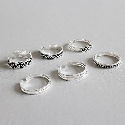 Joyería fina de plata de ley S925 auténtica, talla pequeña, dedo del pie medio, anillo ajustable TLJ595 1 unidad