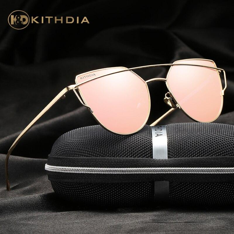KITHDIA marca gafas de sol polarizadas de ojo de gato mujer marca diseñador UV400 protección gafas de sol Retro disco de moda tonos KD2601