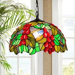 Tiffany grande iluminação de vidro manchado frutas praia luz pingente país francês boêmio multi cor pendurado gota luz espuma pacote