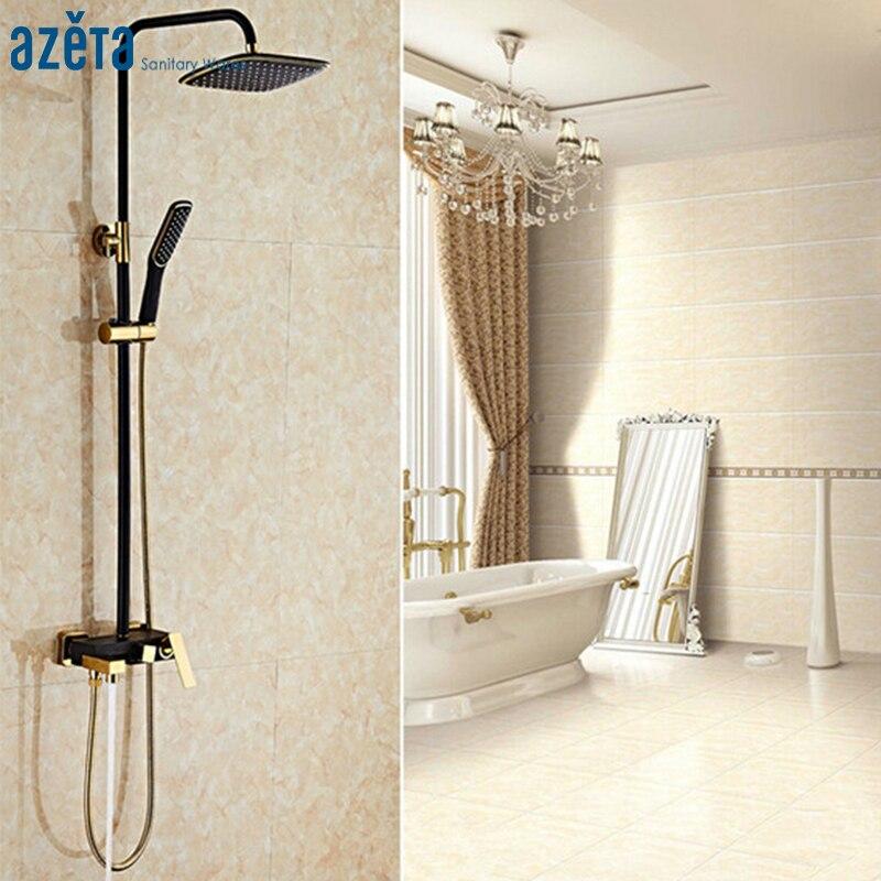 طقم حمام فاخر عالي الجودة ، دش مطري أسود وذهبي ، طقم صنبور بمقبض واحد مثبت على الحائط AT1901