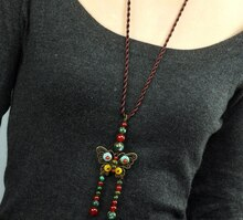 Vintage corde grenat perles bronze papillon pingente menina collier femmes accessoires en gros/colar collier/bijoux/colgante