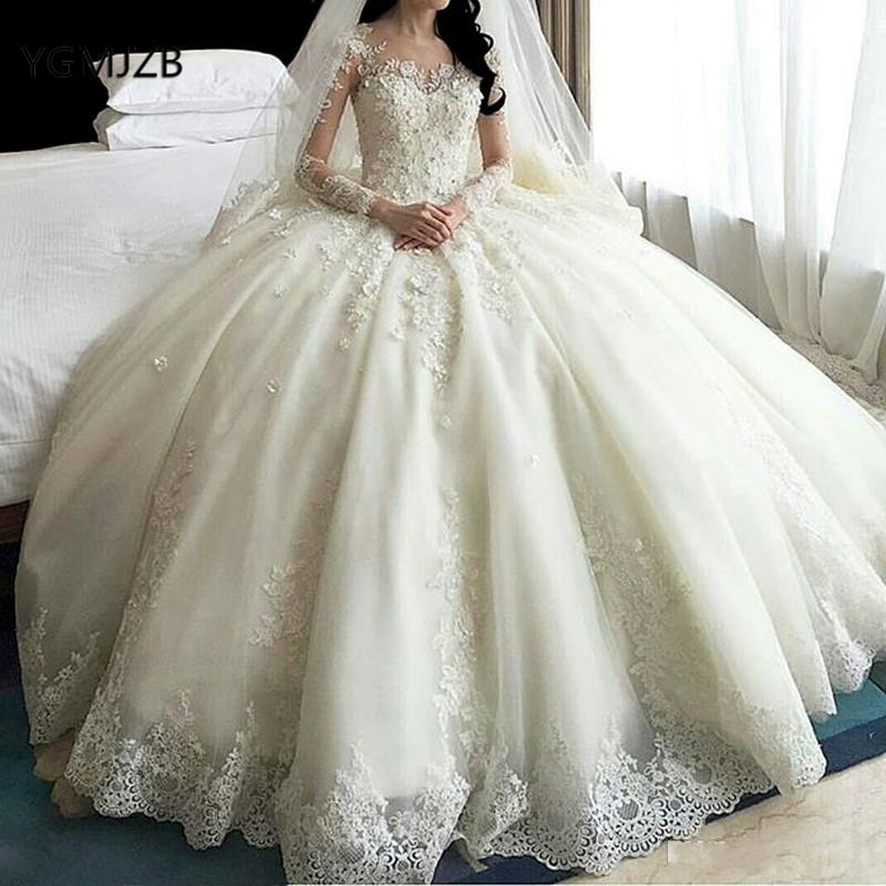 luxury long tail satin red bling ball gown wedding dresses newest sexy designer bridal wedding gowns with sleeves Luxury Wedding Dresses Ball Gown 2020 with Sleeves Beaded Crystals Lace Long Train Wedding Gowns for bride Bridal Dresses
