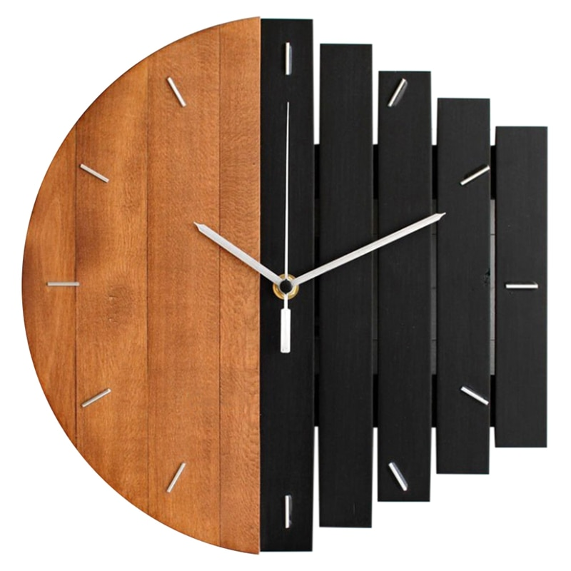 Wooden Wall Clock Modern Design Vintage Rustic Shabby Clock Quiet Art Watch Home Decoration