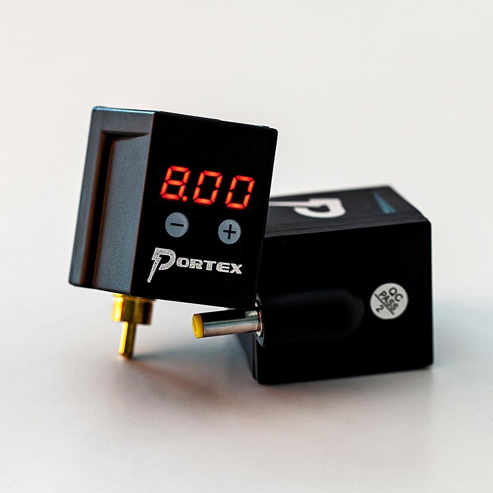 Portex fonte de alimentação para tatuagem, portátil, sem fio, tatuagem, mini potência rca/dc, conector, bateria recarregável, led, display digital