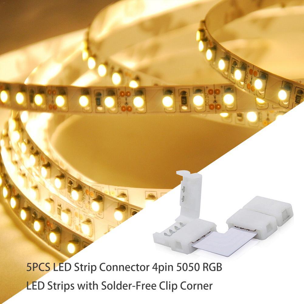5 unids/lote 4pin RGB L forma LED Clip conector para codo de conexión ángulo 5050 RGB LED tira de luz sin soldadura Clip esquina 10mm