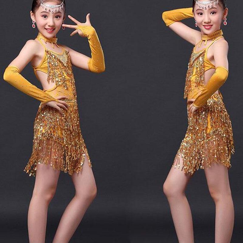 Hint elbisesi çocuklar kızlar için giyim kostümleri gül kırmızı altın üst etek pullu saçaklı latin uygulama elbise giymek