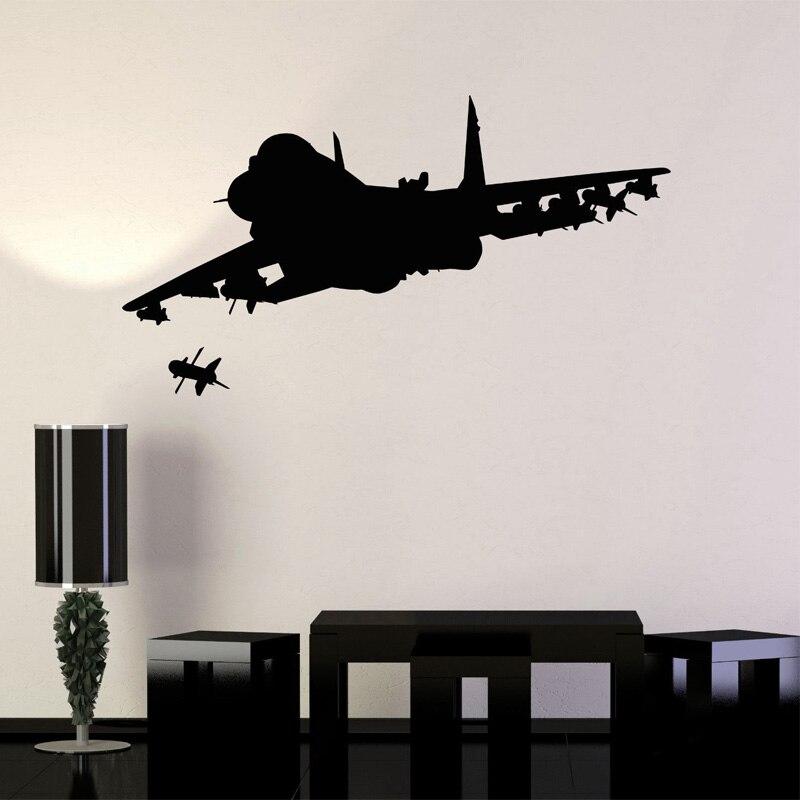 Papel tapiz de luchador adhesivos removibles para pared de aviación aeronave militar para cuarto de niños y niñas, vinilo para pared, pegatinas para sala de juegos YY142