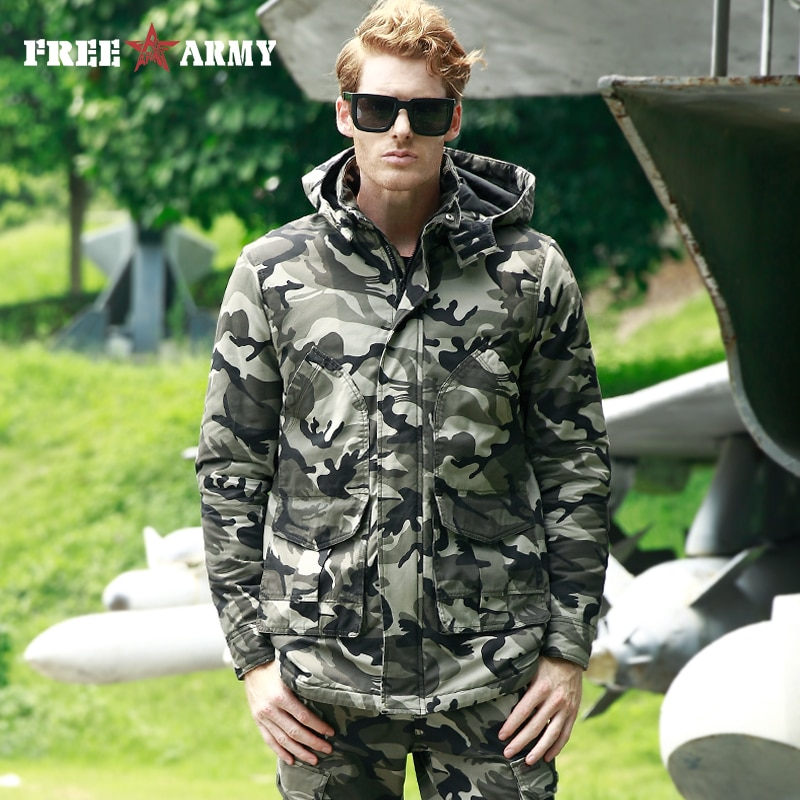 FREE ARMY Parka Men Camouflage Thick Hooded Winter Jackets Male Warm Cotton Jacket Stand Collar Windproof Coat Camo Plus Size