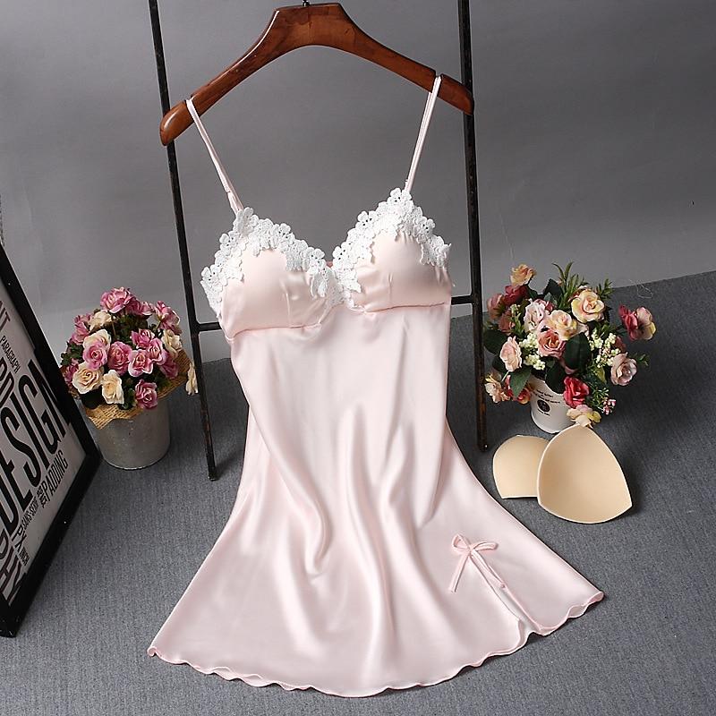 العلامة التجارية الجديدة الصينية النساء رداء الحرير ثوب النوم مثير قميص النوم الدانتيل حمام ثوب الصيف عادية الرئيسية فستان سهرة نايتي