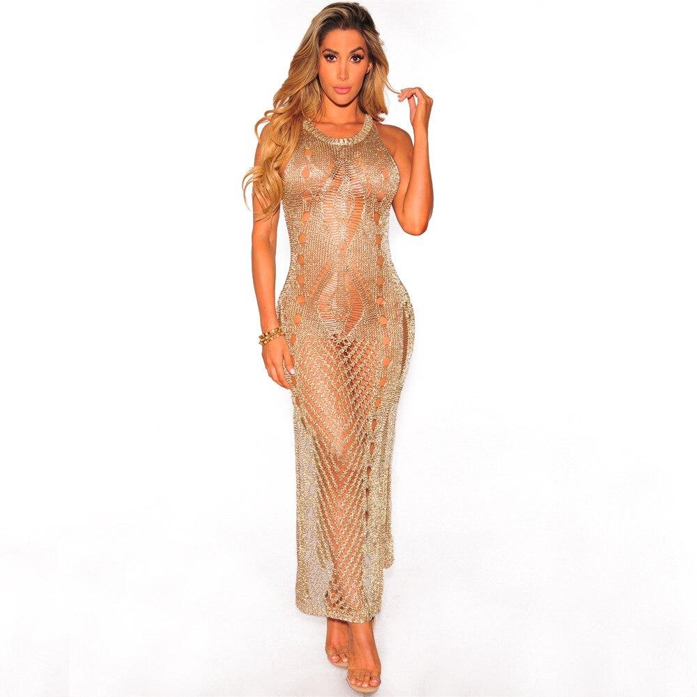 Nuevo vestido largo tejido para mujer hombros al descubierto de alta tecnología sexy vestido hueco para mujer Sexy ahuecado alto Split Club vestidos de fiesta