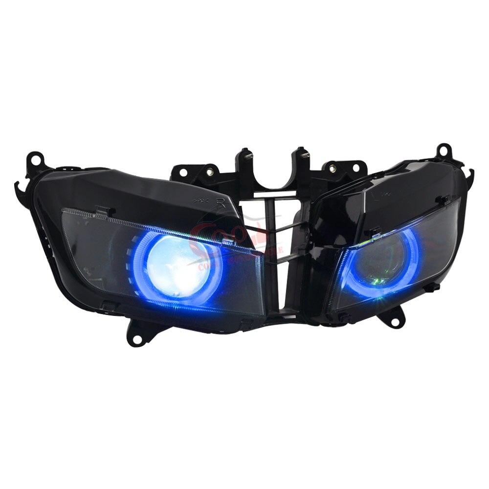 مصباح أمامي معدل مخصص ، مصباح أمامي مُجمَّع بالكامل مع عين الملاك الزرقاء ، مناسب لهوندا CBR600RR CBR600 RR 13-18