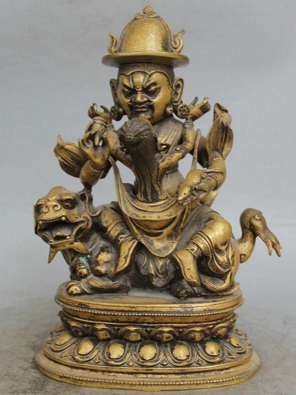 "Coleccionable de bronce S1913 12 ""Budismo Tibetano Tibet Cobre Asiento León Bestia Protector Deidad Estatua de Buda (B0328)"