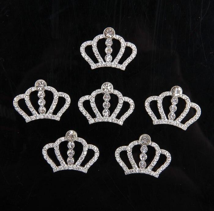 10PCS Crown Rhinestone Buttons Bling Alloy Crown for DIY Baby Girls Headband Wedding Party Bride Headdress Hair Embellishment