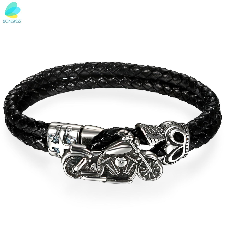 "BONISKISS 7"" Men's 316L Motorcycle Biker Black Leather Strap Bracelet"