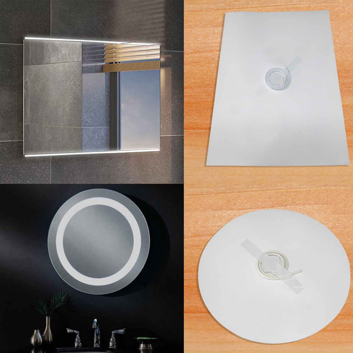 Espejo de baño ducha película protectora antiniebla ventana película transparente espejo de maquillaje impermeable película de calentamiento electrónico de protección