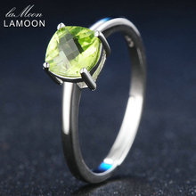 LAMOON 6mm Natürliche Platz Cut Peridot 925 Sterling Silber Einfache Engagement Ring Frauen Schmuck S925 LMRI037