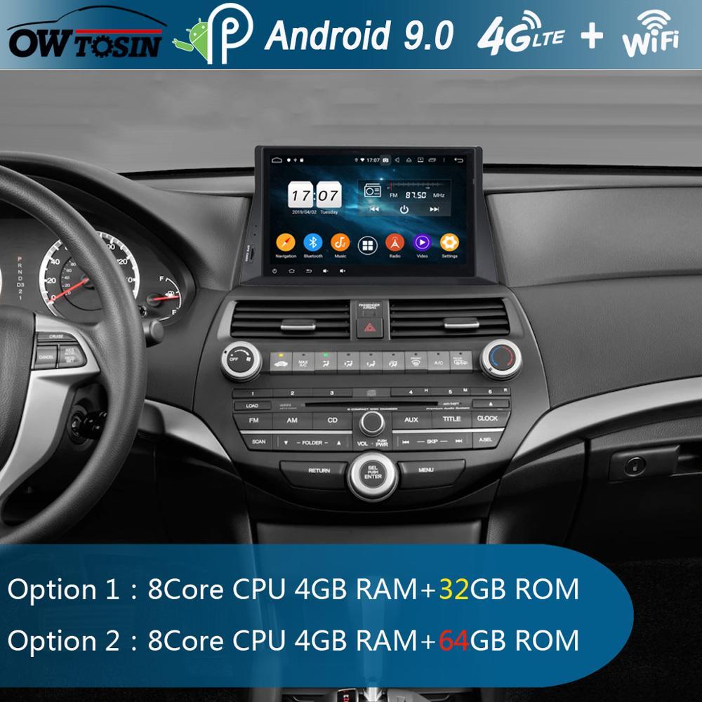 "10.1 ""ips 8 núcleo 4g ram + 64g rom android 9.0 carro dvd player de rádio gps para honda accord 8 2008 2009 2010 2011 baixo nível dsp carplay"