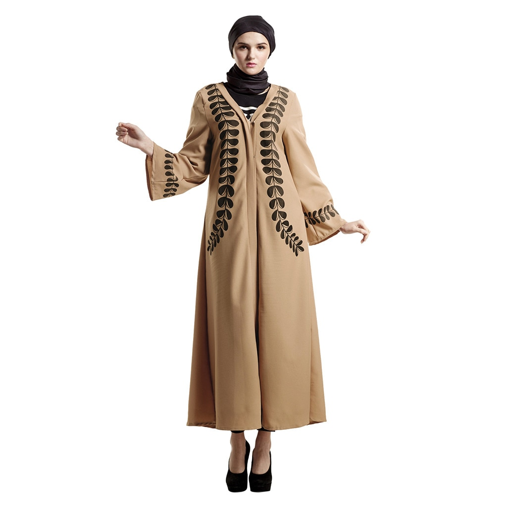 Vestido musulmán islámico ropa hijab musulmán islámico impreso vestido largo mujeres elegante vestido de manga larga Abaya Long Rob D300410