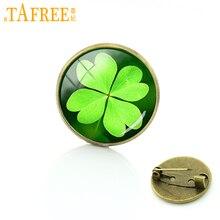 TAFREE-insigne de trèfle à quatre feuilles, belle plante dart floral, insigne Cabochon en verre, broche bijoux de mariage pour femmes T673