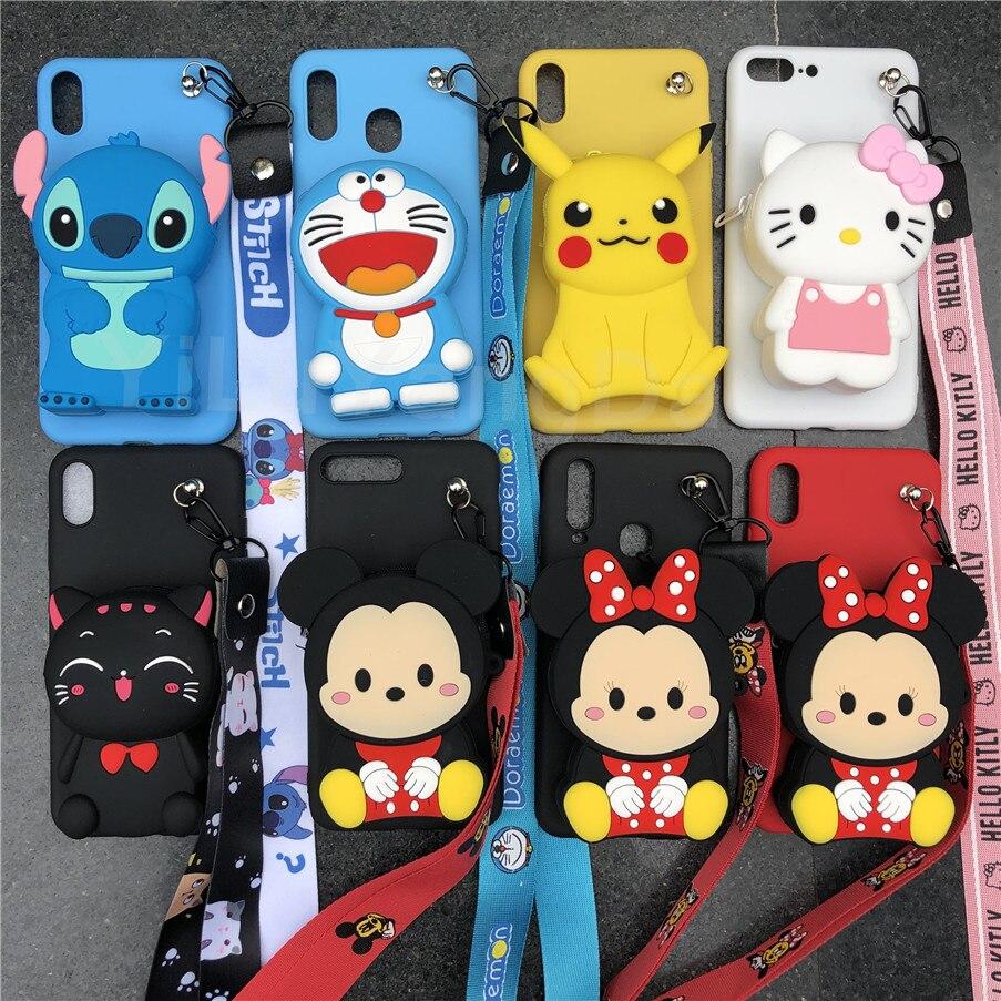 Cartoon Stitch Minnie Zipper Wallet Phone Case for Huawei Mate 9 10 20 30 P10 P20 P30 P40 Lite E Pro Plus 5G Soft Silicone Cover