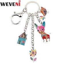WEVENI émail métal maison fleur Chihuahua chien poulet pend porte-clés porte-clés pour femmes homme porte-clés bijoux accessoires