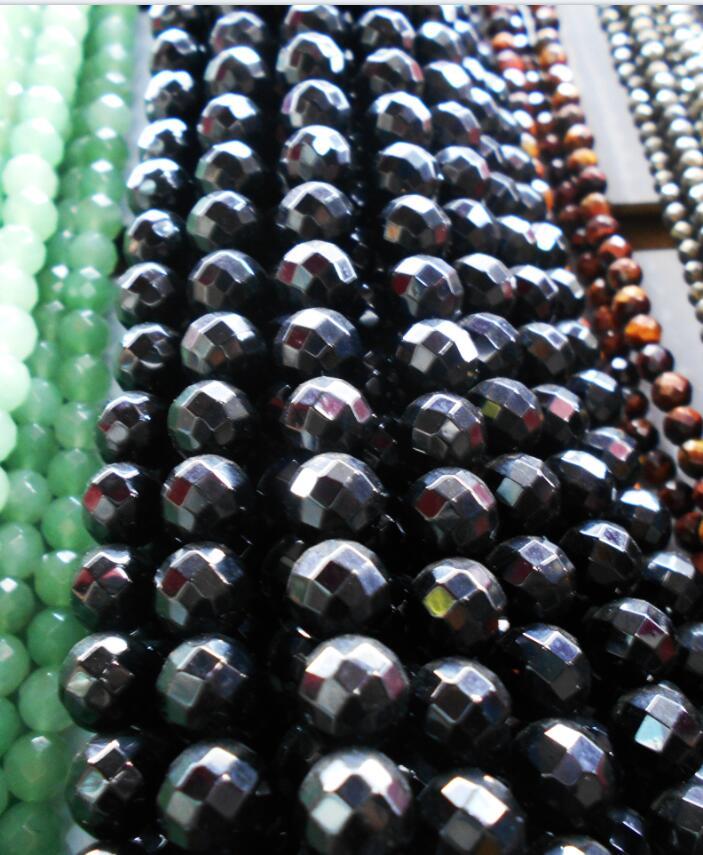Cuentas de piedra Onix negras facetadas a precio de fábrica, 6 8 10 12MM, tamaño de selección para la fabricación de joyas
