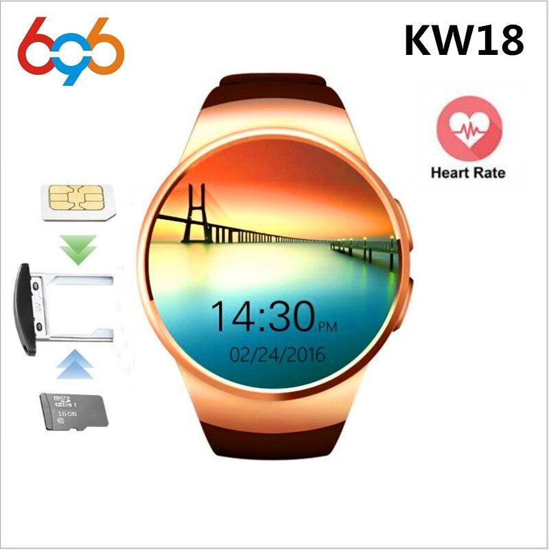 Reloj inteligente KW18 de 696 con Bluetooth para hombres, podómetro del ritmo cardíaco, SIM, reloj inteligente con respuesta a llamada, reloj de teléfono TF para android ios
