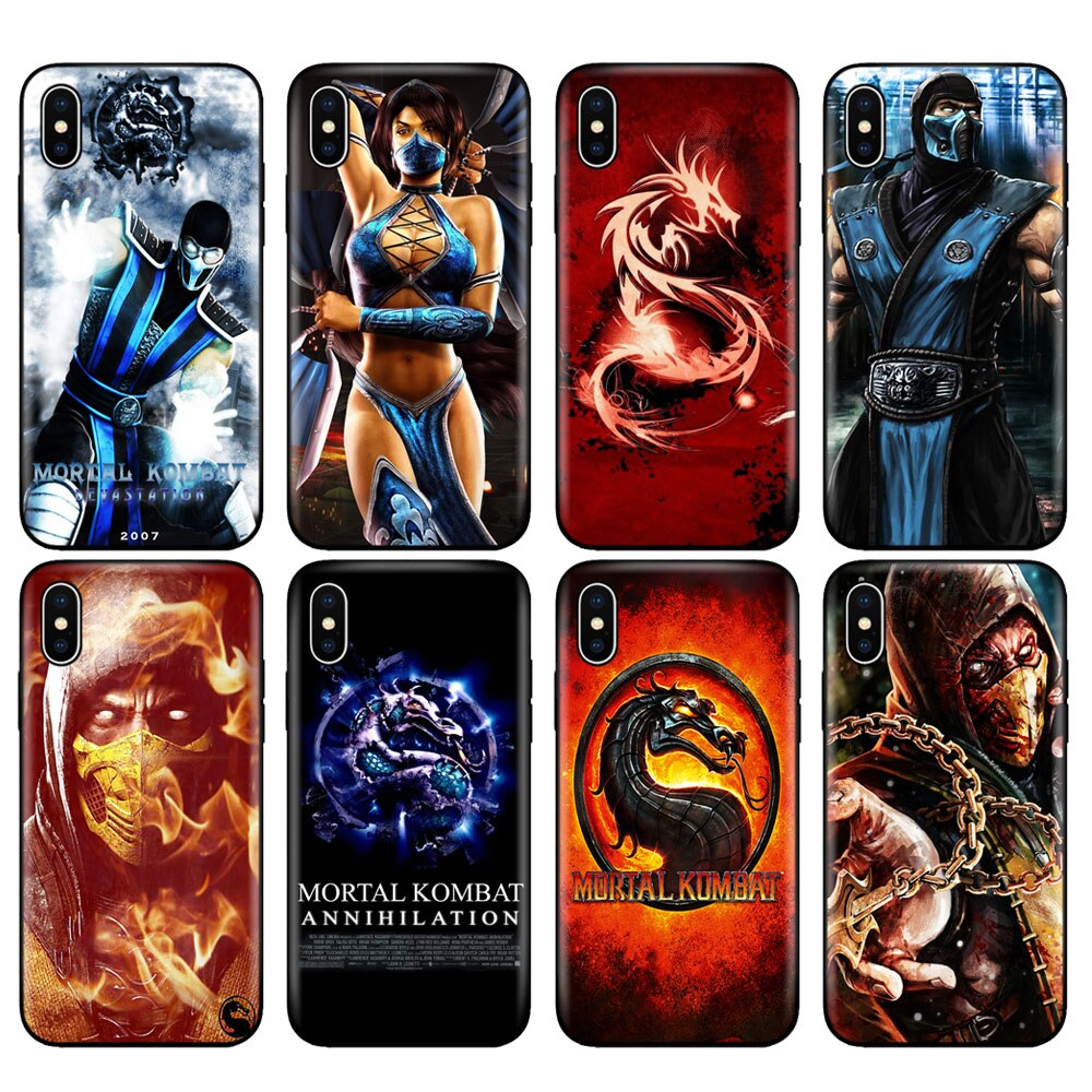 Черный силиконовый чехол из ТПУ чехол для iphone 5 5S SE 6 6s 7 8 plus x 10 для iphone XR XS 11 pro MAX Scorpion Sub Zero Mortal Kombat x