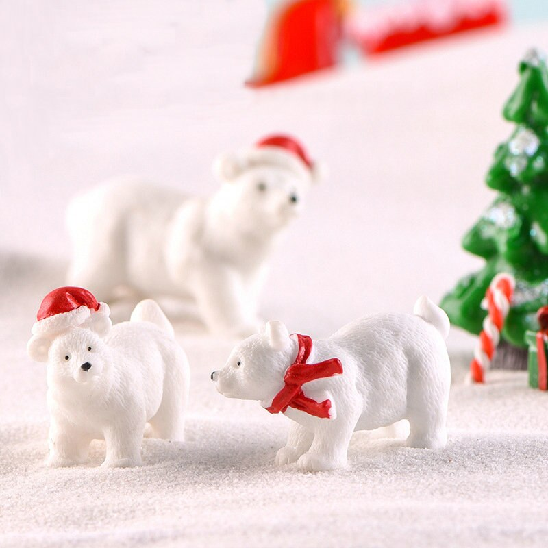 1 Uds mini Oso Polar pingüino arcoíris unicornio amarillo pato árbol Hada jardín planta resina artesanía ornamento miniatura regalo