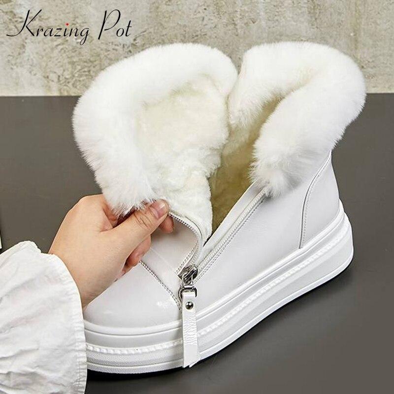 Krazing pot/теплые зимние сапоги из натуральной кожи на плоской платформе с круглым носком и украшением из кроличьего меха для девочек, L15