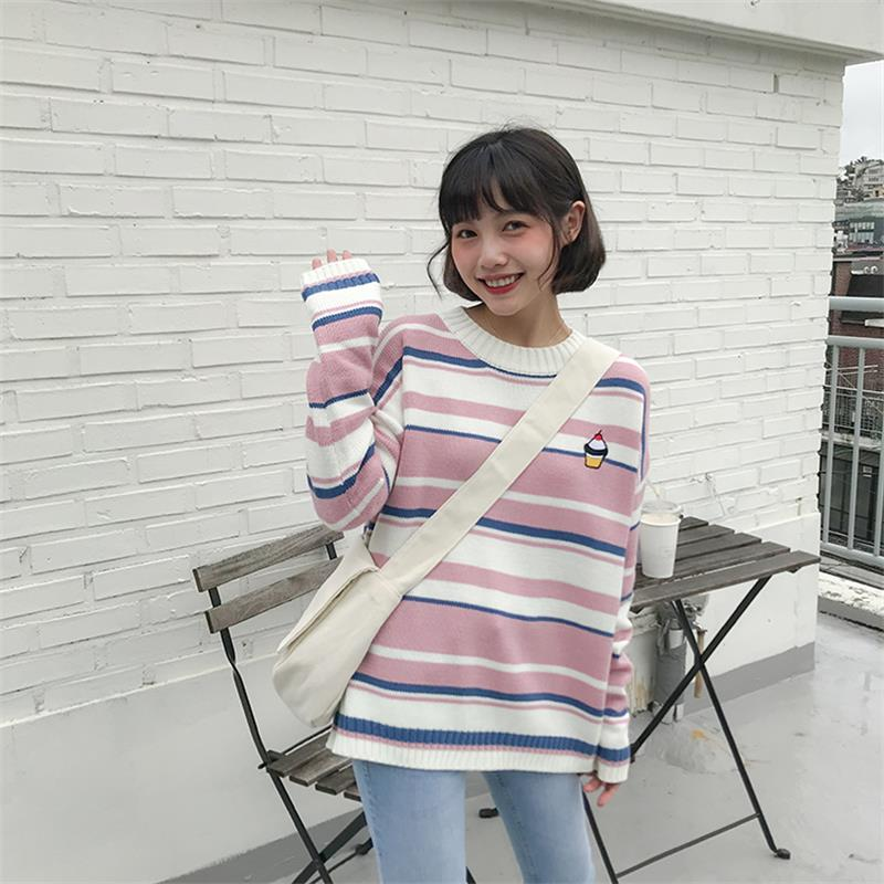 Womens Sweaters Japanese Kawaii Ulzzang Striped Cartoon Embroidered Cake Sweater Female Korean Harajuku Clothing For Women