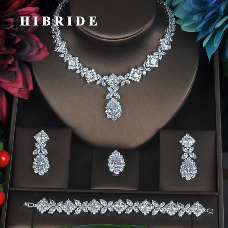 HIBRIDE واضح كريستال زركون مجموعات مجوهرات للنساء الزفاف الزفاف مجموعات 4 قطعة قلادة القرط حلقة سوار هدية N-315