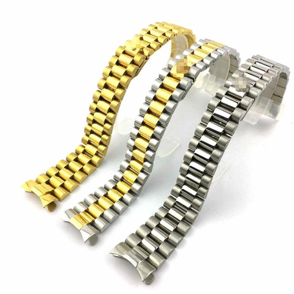 Ремешок для часов из нержавеющей стали, 20 мм, золотой, золотой, серебристый