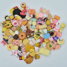 100pcs/lot hot sale Mix Assort cake cookie Icecream fruit chocolate etc  Charm Pendants Resin Flat Back Scrapbook Buttons Craft