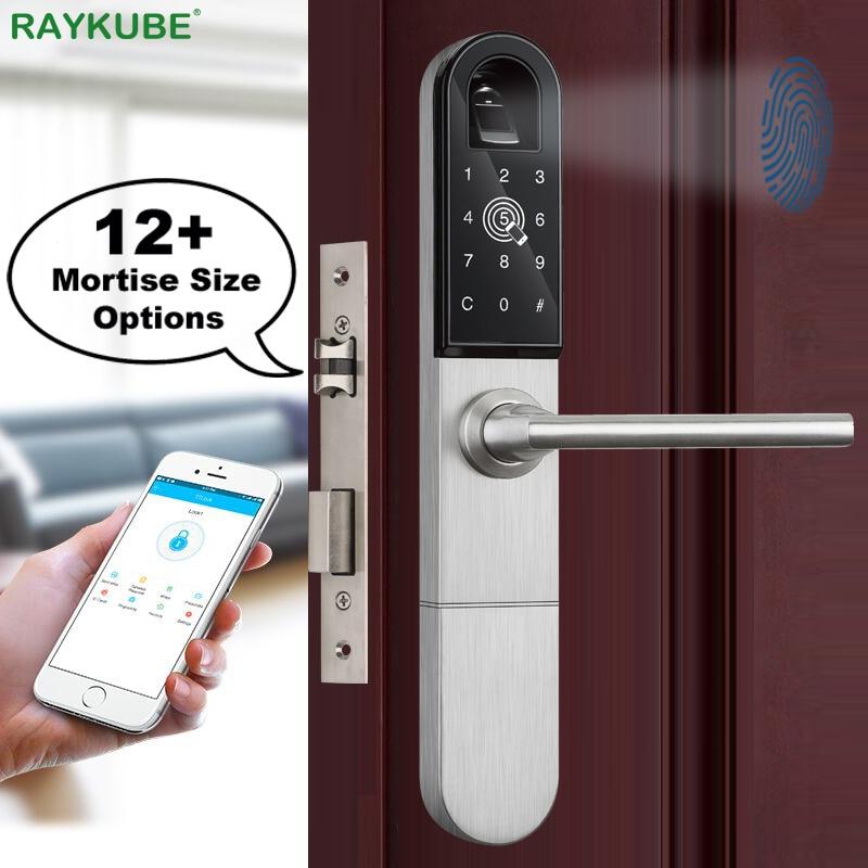 Promo RAYKUBE Electronic Door Lock With Fingerprint / Smart Card / Bluetooth Unlock Wifi TT lock Phone APP Keyless Mortise Lock R-F918