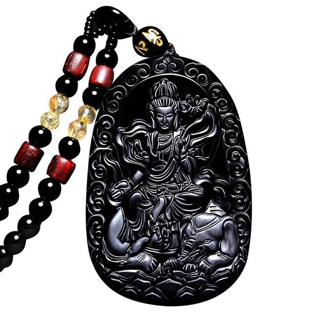 Joyería Fina clin-kk Buda Bodhisattva colgante collar amuleto talismán de obsidiana Samantabhadra envío gratis
