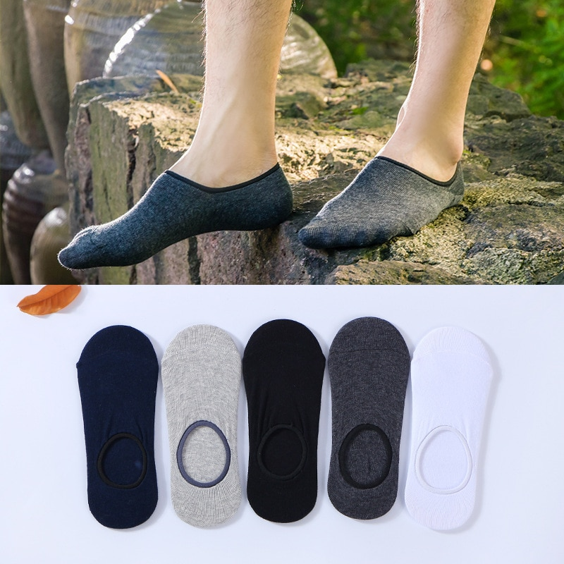 Носки мужские, 5 пар/лот, невидимые хлопковые носки в полоску, Нескользящие, высокое качество, большой размер