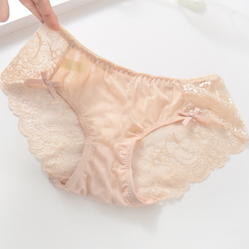 Gumprun Ice Silk Panties Sexy Seamless Lace Panties Hollow Out Underwear Women Flower Printing Lingerie Low Waist Cozy Briefs