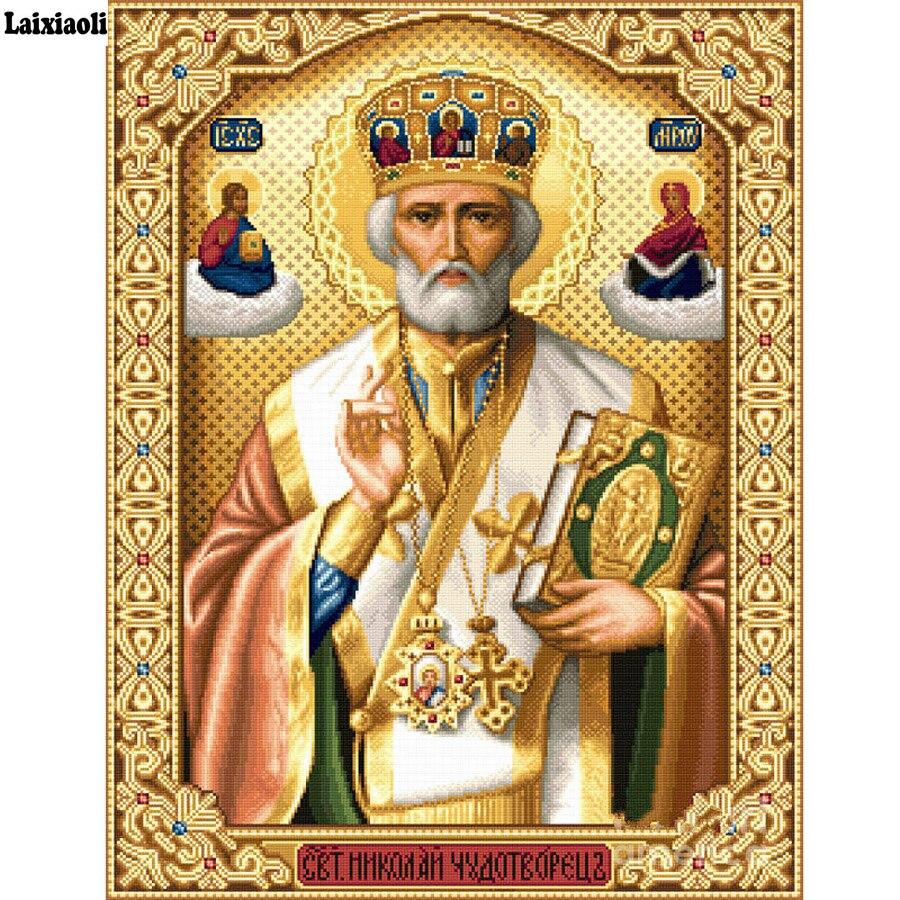 5D Mestieri di Cristallo di Diamante della Pittura A Mosaico Icone di San Nicola Di Myra 3D Piazza fai da te Diamante Ricamo Ortodosso Religione